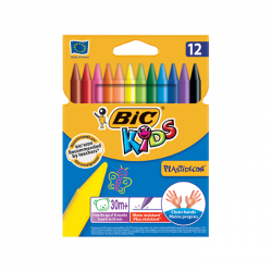 Creioane cerate 12 culori Bic Kids Plastidecor 0341