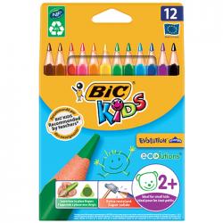Creioane colorate 12 culori triunghiulare Bic Evolution